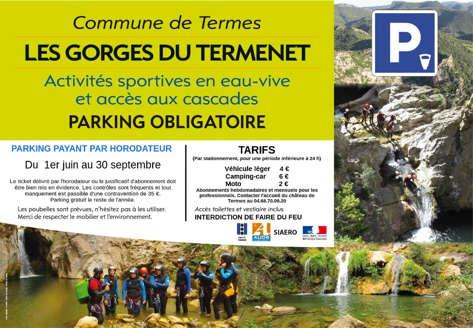 2019 fonctionnement parking gorges de Termes